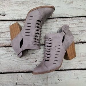 Qupid Lattice Gray Booties